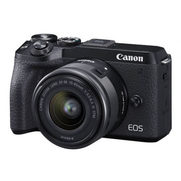 Canon EOS M6 Mirrorless Camera with EFM15-45 lens and EVFDC2