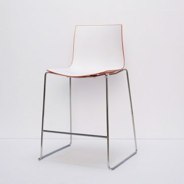 Plastic White Stool - Orange Back