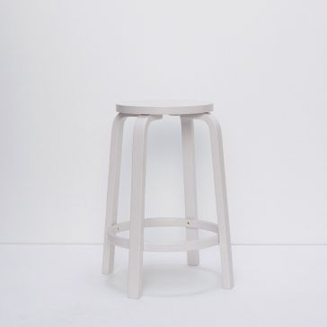 Short White Wooden Stool