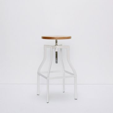Turner White Metallic Stool/Wood Top
