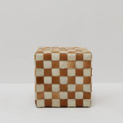 Cowhide Checked Pouf