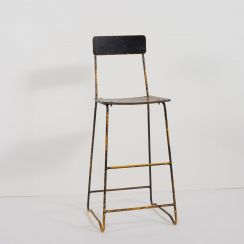 Wooden Artist's Tall Stool with Backrest