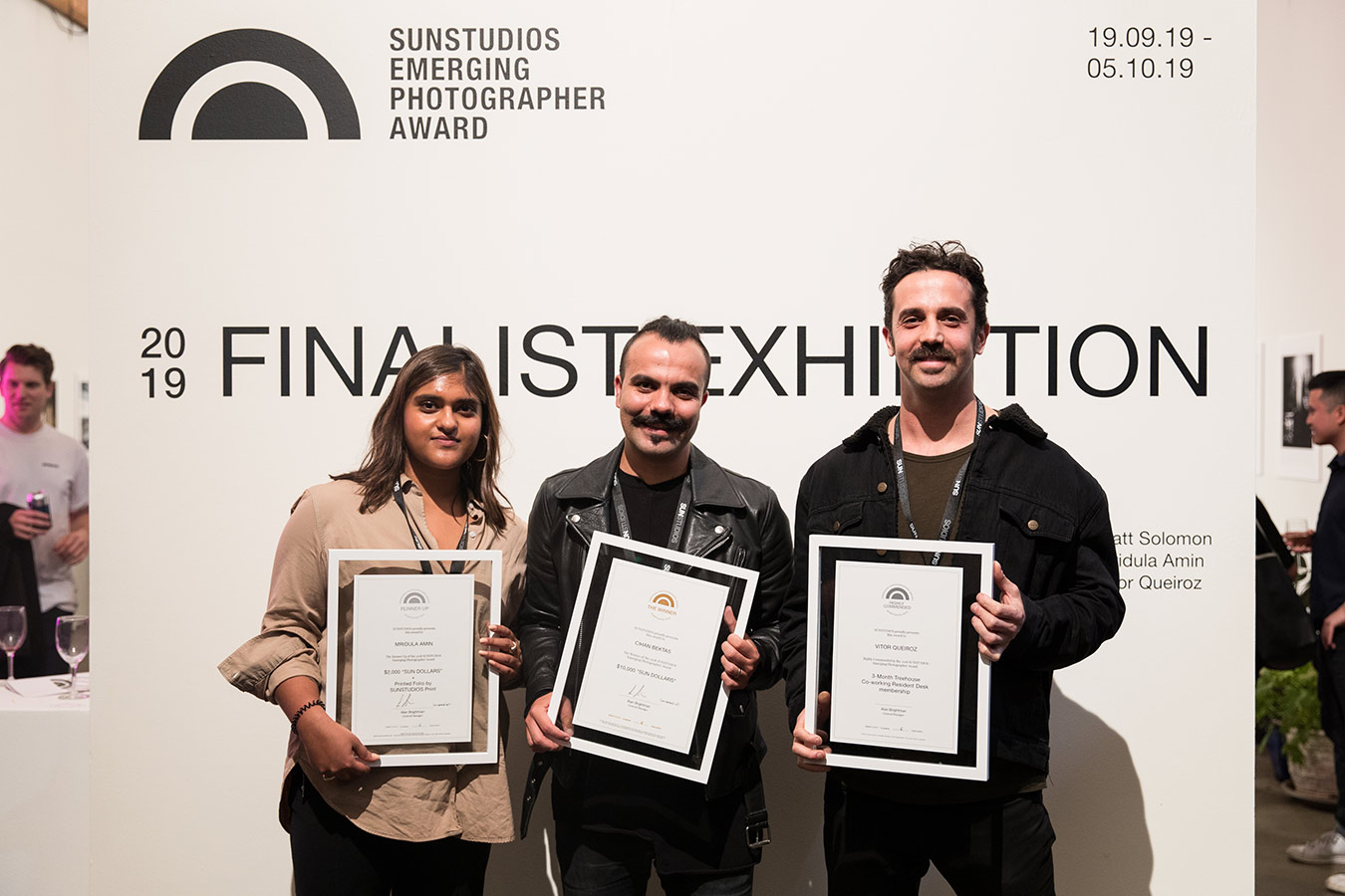 SEPA 2019 winners L-R Mridula Amin (Runner Up), Cihan Bektas (Winner) and Vitor Queiroz (Highly Commended). Image by Daniele Massacci.