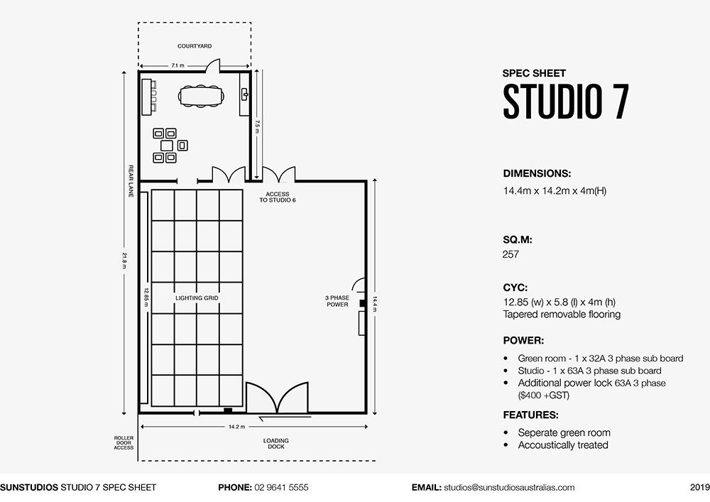 Studio 7 Sun Studios Spec Sheet