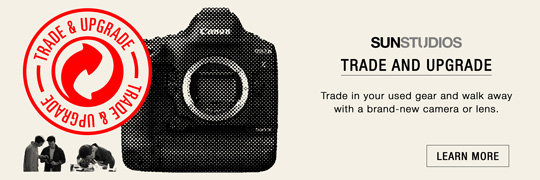 SUNSTUDIOS Trade and Upgrade program to exchange used camera gear for new purchases.