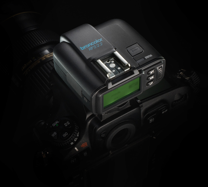 Broncolor RFS 2.2 transceiver on black background