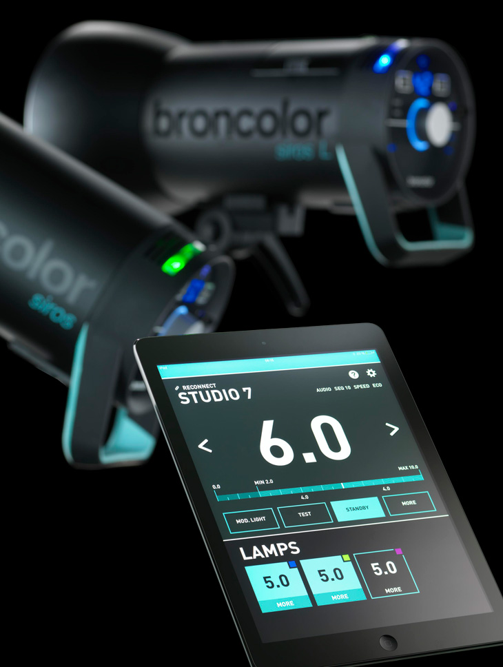 The remote controlled Siros L, broncolor's battery-powered compact Monobloc, studio and location photography lighting.