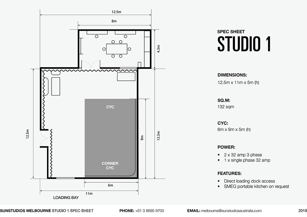 Studio 1 Sun Studios Melbourne Spec Sheet