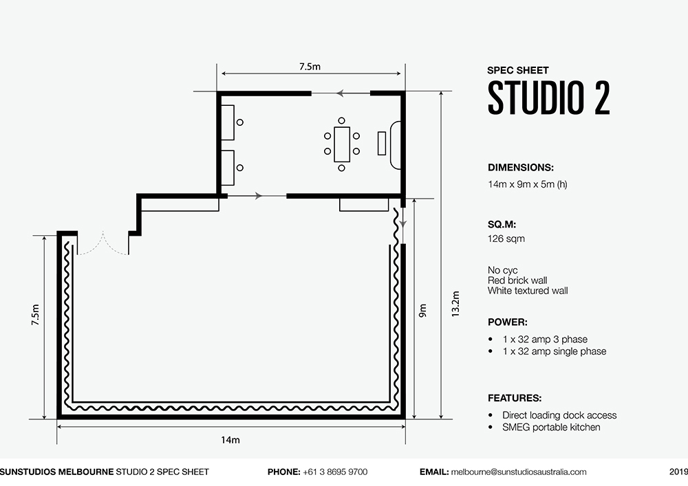 Studio 2 Sun Studios Photo Studio Spec Sheet