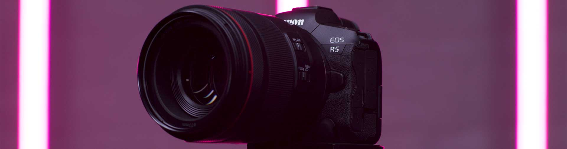 the-canon-eos-r5-on-a-tripod-with-purple-background-by-daniel-congerton