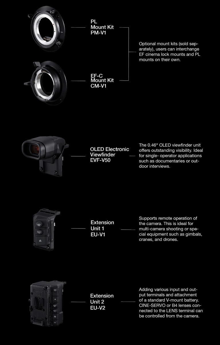 Canon EOS C500 Mark II optional accessories.