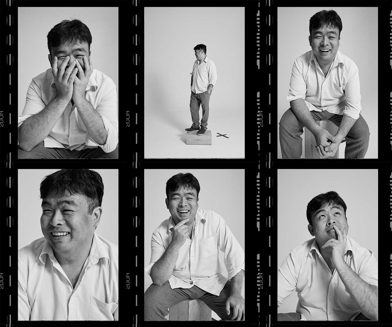 film-reel-style-portrait-set-of-david-tran-laughing-looking-to-camera-andlooking-away
