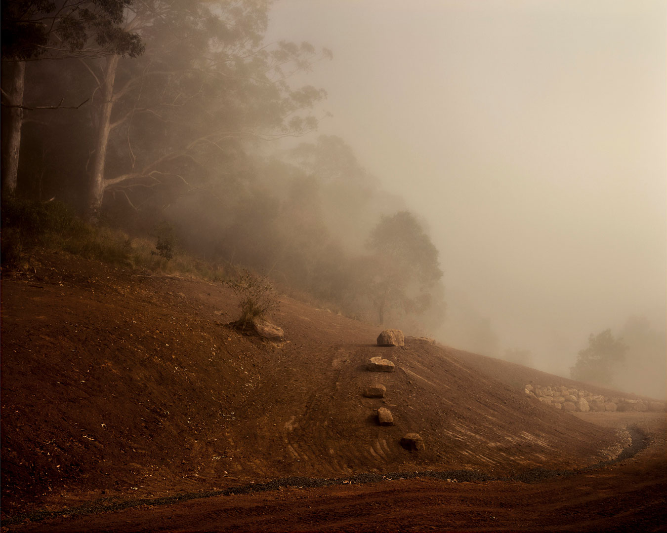 red-dirt-hill-with-rocks-mid-landscaping-in-the-morning-mist