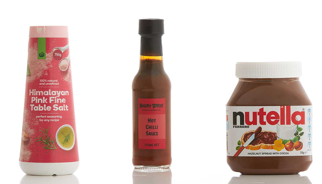 hot-sauce-bottle-salt-and-nutella-all-shot-with-the-clean-pack-shot-look