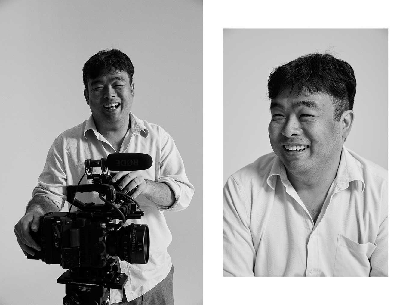 david-tran smiling-with-camera-black-and-white-portrait-by-kristina-yenko